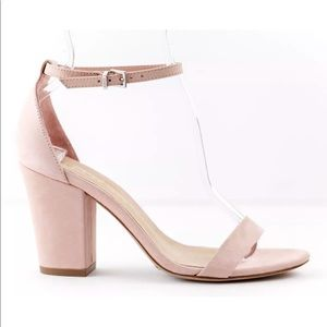 Schutz Forby Rose Tan Pink Suede Chunky Heels
